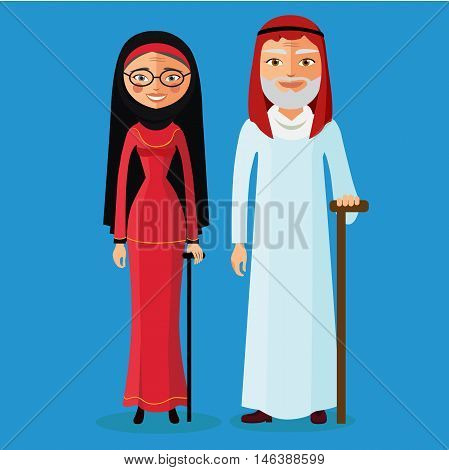 Arab Old Man and arab old woman. Muslim adult man and woman. Arab old people flat cartoon vector illustration. Eps10. Isolated on a white background.