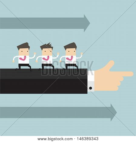 Businessman running in the same direction with big businessman's hand pointing
