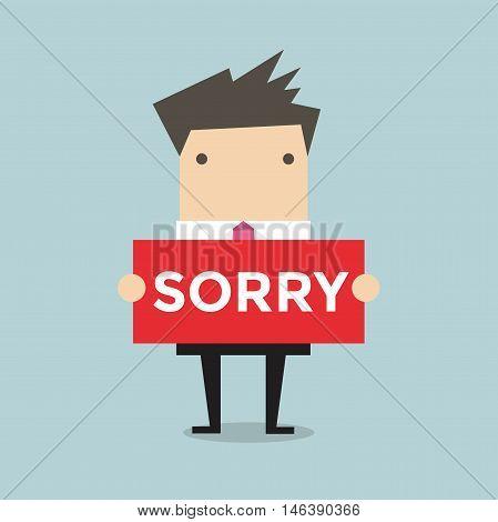 Businessman hands holding sorry sign vector illustration