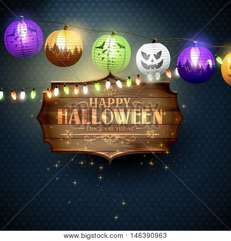 Happy Halloween modern greeting card with wooden sign with calligraphic inscription and paper lanterns on blue background