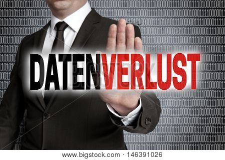Datenverlust (in German Data Loss) With Matrix Is Shown By Businessman