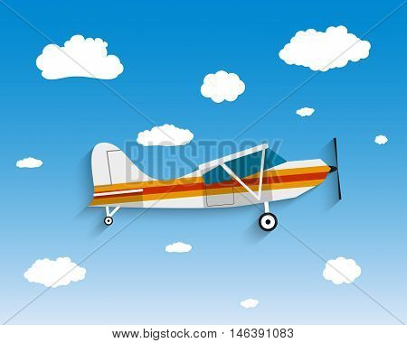 Flight of the plane in the sky. Passenger planes, airplane, flight, clouds, sky. vector illustration in Flat design