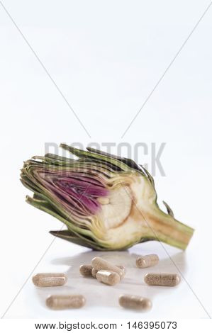 Artichoke leaf extract capsules. and Dietary supplements