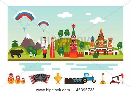 Famous landmarks and national symbols of Russia. Welcome to Russia. Vector illustration