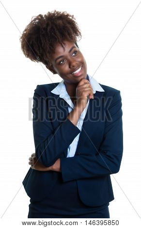 Thinking african american business woman on an isolated white background for cut out