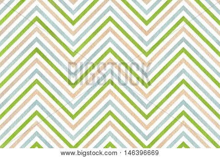 Watercolor Beige, Green And Blue Stripes Background, Chevron.