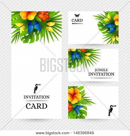 Summer tropical hawaiian background with jungle palm tree leaves exotic hibiscus flowers and rainbow butterflies.