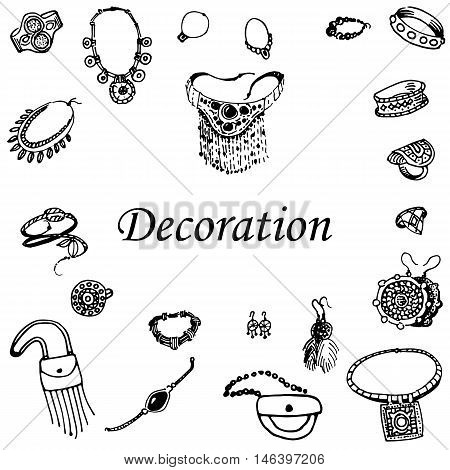 Vector illustration of a variety of decorations. Doodle bijouterie. Jewelry hand-drawn. On an isolated white background.