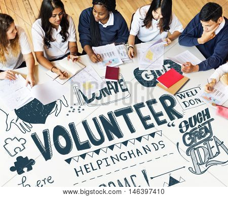 Students Community Service Volunteer Concept