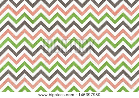 Watercolor Pink, Green And Grey Stripes Background, Chevron.