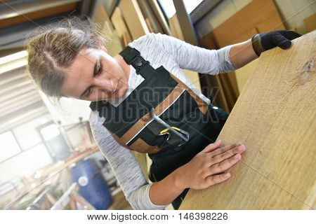Young woman in crafstmanship school, training course