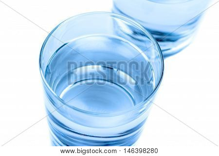 Top Of View Of Drink Glass With Water, Nutrition And Health-care Concept