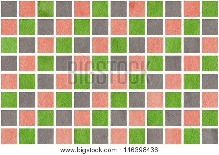 Watercolor Pink, Green And Grey Squares