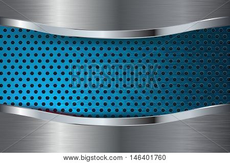 Metal background. Brushed perforated metal with blue plate. Vector illustration
