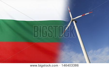 Concept clean energy with flag of Bulgaria merged with wind turbine in a blue sunny sky