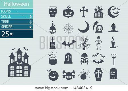 Set of Halloween characters. Scrapbook elements. Vector illustration. Cat, bat, spider, ghost, pumpkin, witch hat, skull, cross.