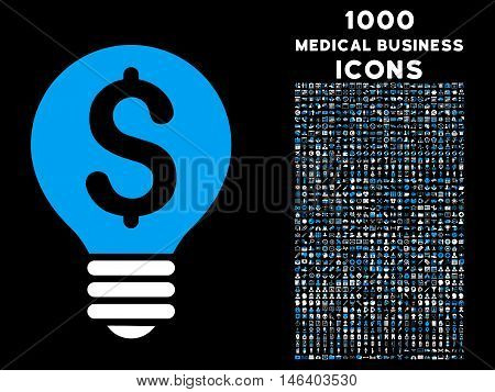 Business Patent Bulb vector bicolor icon with 1000 medical business icons. Set style is flat pictograms blue and white colors black background.