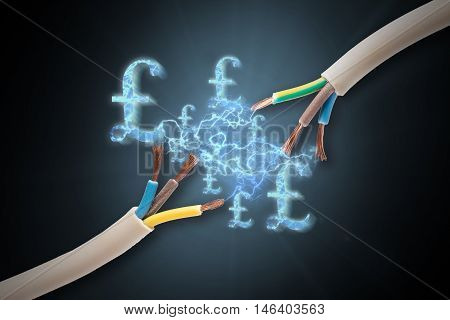 Expensive electricity costs with pound signs high quality and high resolution shoot