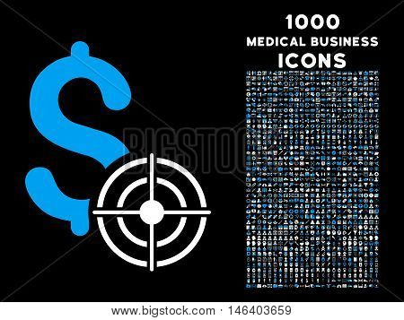 Business Target vector bicolor icon with 1000 medical business icons. Set style is flat pictograms blue and white colors black background.