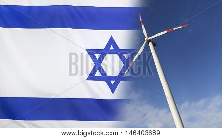 Concept clean energy with flag of Israel merged with wind turbine in a blue sunny sky