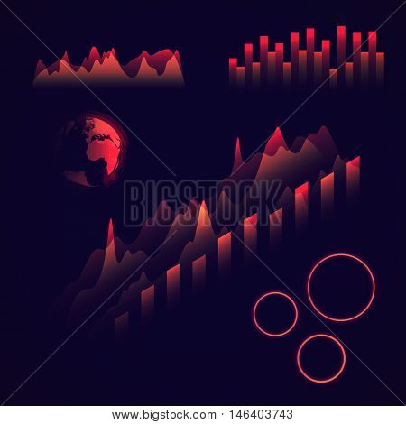Graphs and charts collection Isometric colorful statistic , information graphs set constituents of infographic Vector infographic .Abstract futuristic glowing  earth globe . HUD style . Data science .