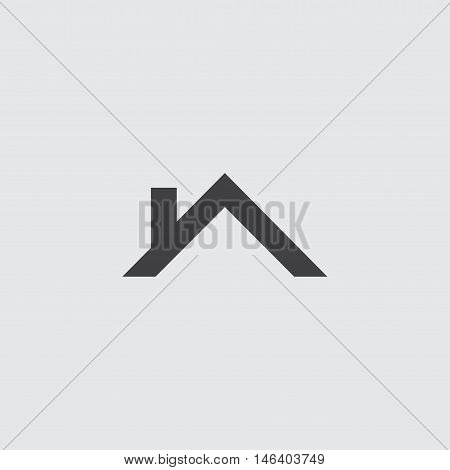 Roof Icon in a flat design in black color. Vector illustration eps10