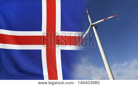 Concept clean energy with flag of Iceland merged with wind turbine in a blue sunny sky