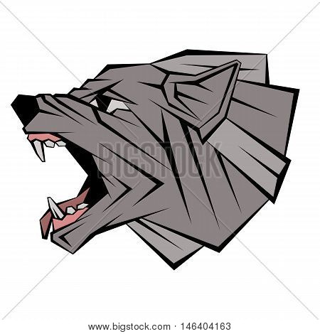 wolf head profile vector illustration geometric style