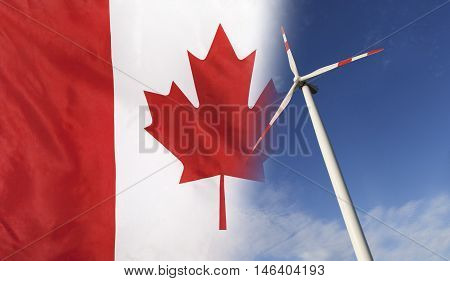 Concept clean energy with flag of Canada merged with wind turbine in a blue sunny sky
