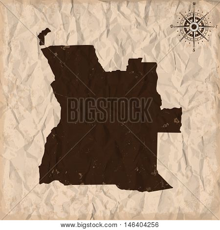 Angola old map with grunge and crumpled paper. Vector illustration
