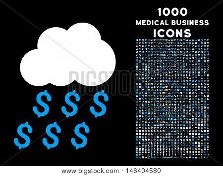 Money Rain vector bicolor icon with 1000 medical business icons. Set style is flat pictograms blue and white colors black background.