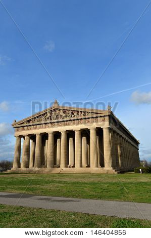 View of replica of Parthenon in Centennial Park in Nashville, Tennessee during late afternoon