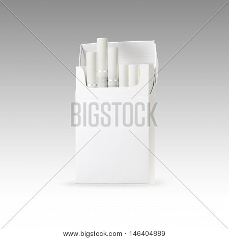 white filter cigarette and pack of cigarettes with blank space. the best for package design and advertising - Realistic photo image. Smoking set isolated on white background with clip path.