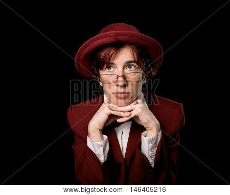 Thoughtful Strange Person In Red