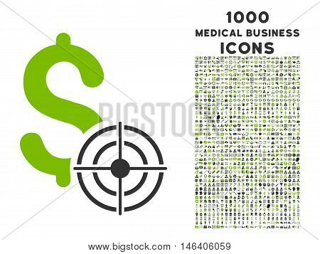 Business Target vector bicolor icon with 1000 medical business icons. Set style is flat pictograms, eco green and gray colors, white background.