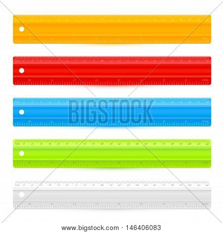 Set of five colorful rulers isolated on white backgrund