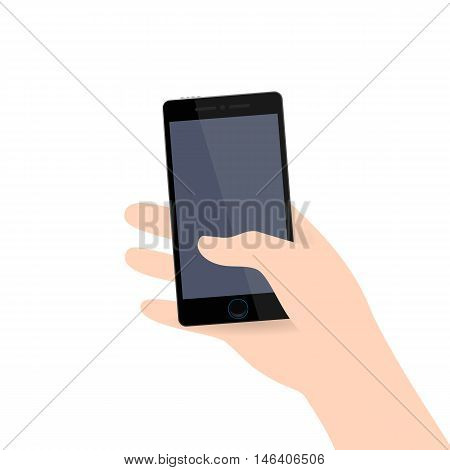 Hand holding modern black realistic colored mobile smart phone. Vector icon web app. Infographics. Wireless technologies for people. Trending gadget flat style with shadow material white background.