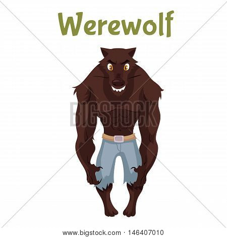 Scary werewolf, Halloween costume idea, cartoon style vector illustration isolated on white background. Frightening werewolf, shape shifter, traditional symbol of Halloween and fairytale character