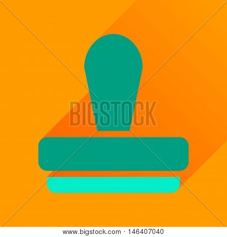 Flat icon with long  shadow stamp office