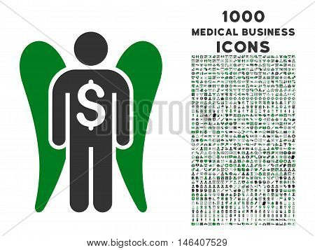 Angel Investor vector bicolor icon with 1000 medical business icons. Set style is flat pictograms, green and gray colors, white background.