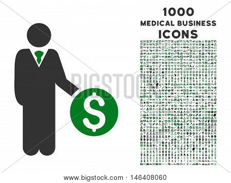 Banker vector bicolor icon with 1000 medical business icons. Set style is flat pictograms, green and gray colors, white background.
