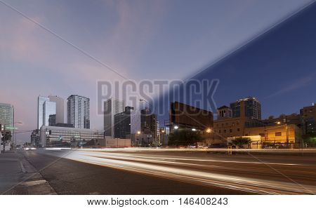 Phoenix Skyline sunset and twilight transition with lighttrails