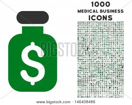Business Remedy vector bicolor icon with 1000 medical business icons. Set style is flat pictograms, green and gray colors, white background.