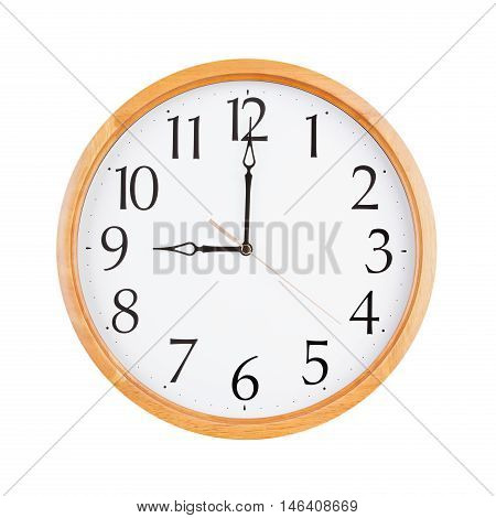 Exactly nine o'clock on a round dial