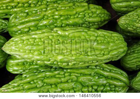 Stacked green Asian bitter melon fu qua