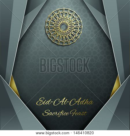3d Eid Mubarak greeting card with islamic ornament , Islamic vector design card template with arabic pattern .