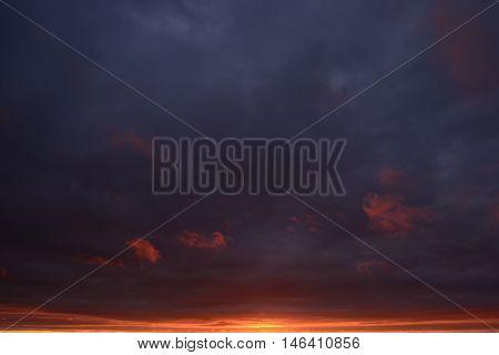 Ghost gloomy dark blue sky at sunset fire