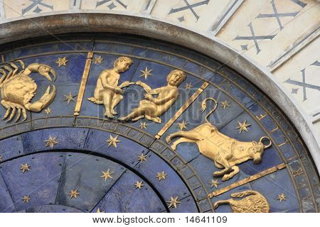 Venice clock tower dial isolated on white. It was initially designed by Gian Carlo Rainieri in 1493