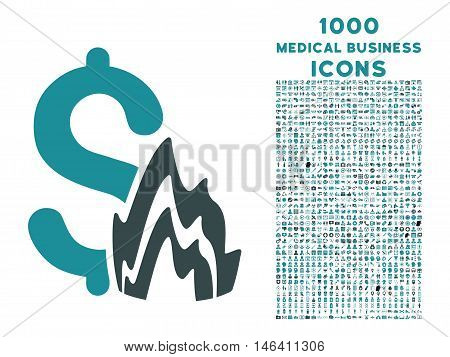 Fire Disaster vector bicolor icon with 1000 medical business icons. Set style is flat pictograms, soft blue colors, white background.