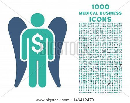 Angel Investor vector bicolor icon with 1000 medical business icons. Set style is flat pictograms cobalt and cyan colors white background.